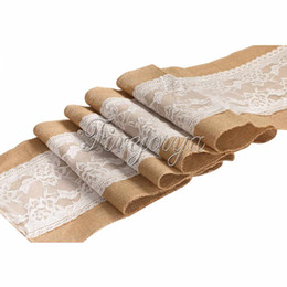 Wholesale 1 Piece Jute Hessian Burlap Table Runner With Knitted Lace Rustic party Wedding Decor x cm Tablecloth Banquet Deocr