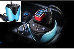 Wholesale new multifunction cup shape car charger cigarette lighter USB switch voltage monitoring Storage Box