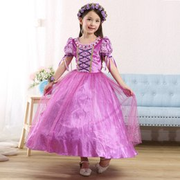 Wholesale Children Kids Cosplay Dresses Rapunzel Costume Princess Wear Perform Clothes purple Tutu dresses princess dress for kids girls party dresses