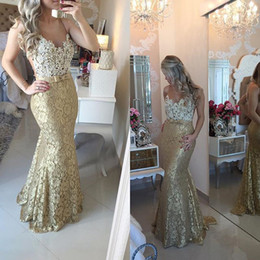 Sheer Neck Mermaid Prom Dresses Lace Evening Gowns 2019 Spring Bow Front Pearls Long Champagne Ombre Dress African