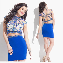 Short Graduation Dress for Juniors 2015 With Beading Blue Two Pieces Cap Sleeve Tight Homecoming Dresses Mini Prom Dress