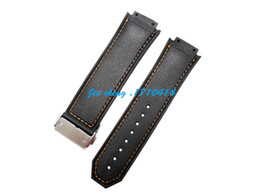 New Men 26mm High Quality Orange Stitched Black Silicone Rubber Watch BAND Strap For HUBWATCH