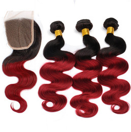 Grade 9A Brazilian Ombre Body Wave Hair With Closure 3 Bundles Dark Root 1B Red Ombre Hair Extensions With Lace Closure