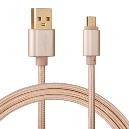 Wholesale 1M ft High Speed Gold plating Metal Nylon Line USB Data Cable Micro Charging Cord For Android Phone Samsung HTC Fast Charger Cyberstore