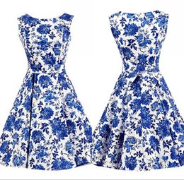 Wholesale 2016 New blue and white china Rockabilly Slash Neck A Line Mid Calf Sleeveless Casual Dresses Summer Beach Women Wear FS0021