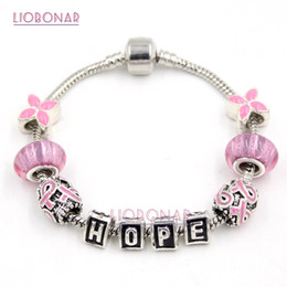 New Arrival Breast Cancer Awareness Pink Ribbon Jewelry DIY Interchangeable Pink Ribbon 4 leaf flower Beads Hope Bracelet Jewelry Wholesaler