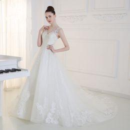 Wholesale 2016 Nouvelle Sweatheart Dentelle A ligne de robes de mariée avec des appliques perlant Sequins Floor_Length plus Size Robes de mariée sexy Wo5