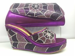 Wholesale Complex human design rhinestone shoes and bag maching set woman shoes purple color high heel shoes with PU leather bag Italian design