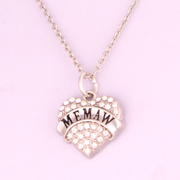 Drop Shipping New Arrival rhodium plated zinc studded with sparkling crystals MEMAW heart pendant wheat chain necklace