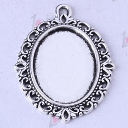 Jewelry Settings Hollow lace pendant antique Silver bronze DIY alloy charms fit Necklace 75pcs lot 110z