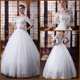 Wholesale 2016 Bateau Modern Long Sleeve Ball Gown Wedding Dress Sexy Real Product Portrait Capped Half Floor Length Church Bridal Gowns Back Zipper