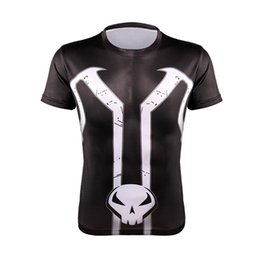 Wholesale-Tees Hommes de séchage rapide Fitness T-shirts 3D imprimé Captain America spider-man Running entraînement de musculation bodybuilding manches courtes gymnase wholesale animal print sleeve tees on sale à partir de shirt de douille d'impression des animaux gros fournisseurs