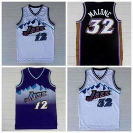 Wholesale Cheap Utah Double Karl Malone John Stockton Jerseys Mesh Embroidery Logos Karl Malone Jersey