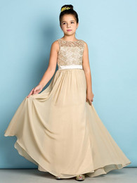 Wholesale Champagne Lace Junior Bridesmaid Dresses Floor length Chiffon Long A line Scoop Flower Girls Dresses For Bridesmaids Cheap