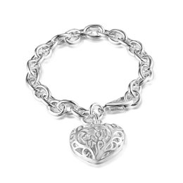 Factory direct wholesale 925 Sterling Silver Round Link Bracelet w  engrave hollow Heart Silver Jewelry
