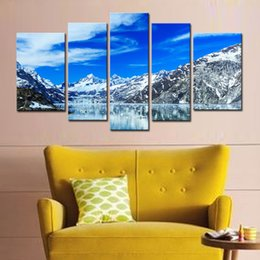 5 Picture Combination Wall Art Stretched Prints On Canvas Art Lake And The Snow Capped Mountains Decoration Painting At Home Decoration