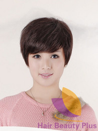 Free Shipping HU-MAN HAIR Short Wig Cut Short Wigs Hairstyle Natural Black and Gift Is 2pcs Hair Circle HH1953