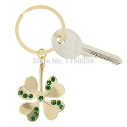 Wholesale Promotion customized Lucky Four Leaf Clover Keychain Zinc Alloy lovers Key Chain Small Pendant Automobile Key Ring