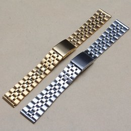 Wholesale Solid Gold Wrist Watches - Watchband Mens Wrist watches brand luxury 20mm Thin Watch Band Stainless Steel Solid Link Bracelet watch Accessories promotion