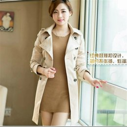 Wholesale 2016 fall fashion Double Breasted Trench Coat khaki Slim Belted Waist Turn Down Collar Windbreaker for Women Outerwear AC