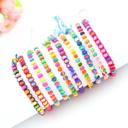 10 Colors Bohemia Mix Match Mead Friendship Bracelets for Women Colorful wooden Beads Bracelets & Bangles Pulseras Mujer
