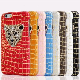 Wholesale Luxury D Metal Leopard Head with Bling Diamond Phone cases Snake Pattern Leather Back Cover Case For iphone plus s plus Capa