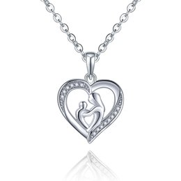 Wholesale 925 Sterling Silver Heart Necklaces Pendant for Mom Mothers Day Best Gift Shape Heart for Mother Child Pendant for Love DP40820A