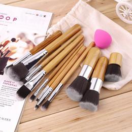 Wholesale 1lot Cosmetic Brush set Bamboo Handle Synthetic Makeup Brush Kits makeup brushes make up toiletries brush tools facebrush and eyebrus