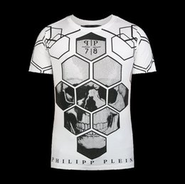 Wholesale 2016 men RARE Philipp skull print T shirt Jersey Short Sleeve T Shirts White New with tags M L XL XXL Philipp Uomo Cotone Bianco Gray New