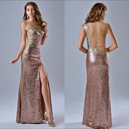 Wholesale 2016 Stunning Sequins Crystals Sexy Sheer Neck Custom Made Long Floor Length Sheath Evening Gown Rose Gold Front Slit Backless Prom Dresses