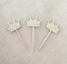 Baratos Navidad Antiguos Oro Glitter Corona Cupcake Toppers boda Princesa Cumpleaños de la fiesta de bienvenida al bebé, Decoración de fiesta Mesa de postres desde magdalena de bienvenida al bebé de la princesa fabricantes