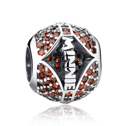 Authentic 925 Sterling Silver Charms Ball Beads with Red Crystals for DIY Beaded Charm Bracelets & Necklaces Jewelry Accessories S356