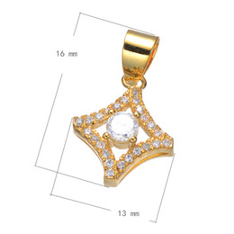 DIY Handbag Charms CZ Micro Pave Copper Pendant Rhombus Plated More Colors For Choice 16x13mm Hole:About 4.1mm 10PCS Lot