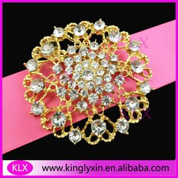 Wholesale pieces mm Fashion Gold Plating Round Crystal Rhinestone brooch pins for Wedding Chair Sash Wedding Bouquet