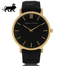 Wholesale Clocks Black - New luxury watches,Larsson Jennings watch leather mens Women watches fashion LJ watch quartz watch Atmos clock rejoles relogio masculino