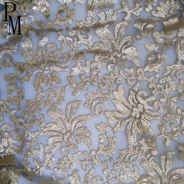 Wholesale 5 yards one piece high quality cerulean lily design black champagne sequin embroidery lace fabric for fancy dress