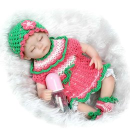 Wholesale Realistic Reborn Baby Doll Inch Silicone Newborn Baby Doll Real Life Lifelike Baby Toys Hand knitted Clothes For Girls