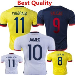 Wholesale 2016 Soccer Jersey Colombia Football Shirts James Rodriguez camisas Radamel Falcao Cuadrado America Cup Home White Maillot Top Quality
