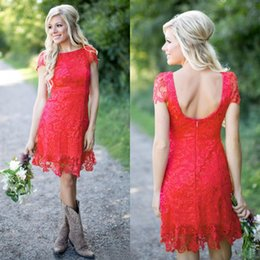 2016 Popular Red Lace Western Country Bridesmaid Dresses Cheap Bateau Short Sleeve Backless Above Knee Length Maid Of Honor Gown EN7281