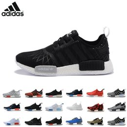 Wholesale Adidas NMD Runner PK R1 Black Red Blue Men s Sports Running Shoes all black all white red flyknit girls athletic shoes plus size