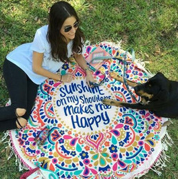Wholesale DHL OR SF EXPRESS cm cm Handwash Round Beach Blanket with Tassel Pink Floral picnic Mat for Outdoor Activity Yoga Sunshine