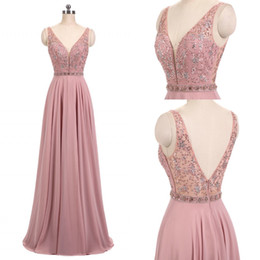 New 2019 Real Blush Pink Prom Dresses V Neck Sleeveless Beads A Line Long Chiffon Formal Dresses Evening Wear Party Gown Mother Dresses