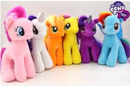 Wholesale Cute Stuffed Horse Toys - My Little Pony Plush Toy Kids Little Horse Stuffed Doll Cute Stuffed Animals Toy Kids Girls Birthday Gift 6 pcs lot 19cm