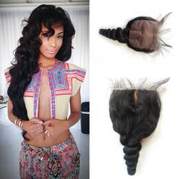 silk base closure 4*4inch Free Part silk base closure cheap Natural Color Brazilian Loose wave silk closure LaurieJ Hair
