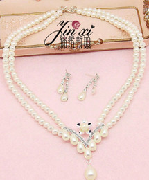 white color cystal pearl wedding bride lady's set necklace earings hrgr