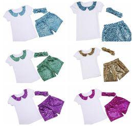 Wholesale Baby Mermaid suit Clothing Sets Fish Scales Tops Pants Headband Mermaid T Shirts Shorts Hairband set kids summer suits KKA512