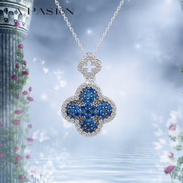 LA PASION Brand Classic CZ Crystal Clover Blue Necklace Luxury Pendant Necklace Accessories for Woman Free Shipping Platinum Plated