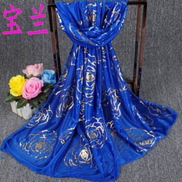 Wholesale HOt silk scarves for women new Golden Rose Beauty long scarf shawl collar yarn factory direct explosion