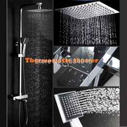 Wholesale Bathroom shower10 inch air pressurize rainfall shower head and thermostatic mixer automatic thermostatic faucet shower set