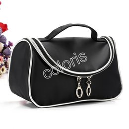 Brand Bags Travel Cosmetic Bags Double Zipper Black Makeup Bags Smile Handbag With Mirror ( 90 Pcs Lot)